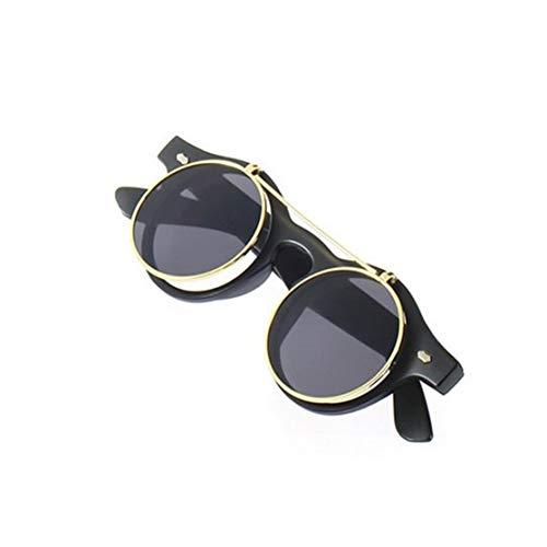 LouiseEvel215 Clásico Steampunk Gafas Gafas Gafas Redondas Flip Up Gafas de sol Retro Moda Vintage-Accesorios Moda Tendencia Gafas Redondas
