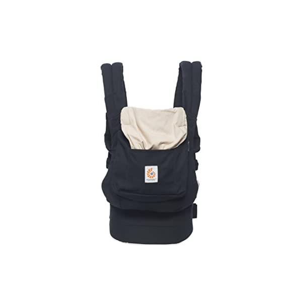 """Ergobaby Baby Carrier Toddler Front Back Original Black/Camel, 100% Cotton Ergonomic Child Carrier Backpack Ergobaby Ergonomic Baby Carrier - Ergonomic for baby with wide deep seat for a spread-squat, natural """"M"""" seated position. Baby carrying system with 3carry positions:  front-inward, hip and back. From baby to toddler: 5.5*-15kg (*from 3.2-5.5kg / 7-12lbs with Infant Insert, sold separately). Wearing comfort - All-day comfort with extra-padded shoulder straps (1 inch high density foam) and padded waistbelt  (1/4 inch) 1"""