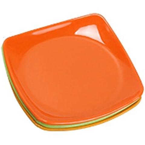 4pcs/set resistencia a la caída de la cena plato alimentos vajilla platos saludables para niños de estilo occidental naranja