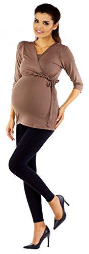 Zeta Ville - Damen Still Shirt Diskretes Stillen Top für Schwangere S-4XL - 458c Cappuccino