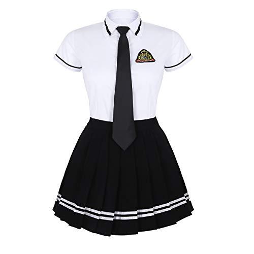 Tiaobug Damen Schulmädchen Kostüm 3er Set Kurzarm Hemd+Faltenrock+ Krawatte Schoolgirl Outfit Uniform Cosplay Karneval Fasching gr. S-XXXL Weiß&Schwarz 3XL (Japanische Cosplay Kostüme)