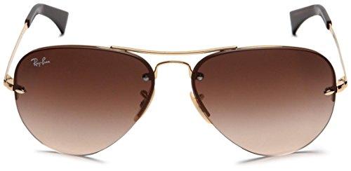 Ray Ban Unisex Sonnenbrille RB3449, (Gestell: Gold, Gläser: Braun Verlauf 001/13), Large (Herstellergröße: 59)