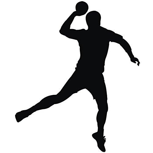 Wadeco Handball Spieler 1 Wandtattoo Wandsticker Wandaufkleber 35 Farben verschiedene Größen, 96cm x 116cm, lichtblau