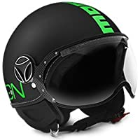 CASCO MOMO DESIGN Fgtr fluo NERO FROST CON DECAL