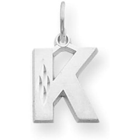 Icecarats Designer Di Gioielli In Oro 14K Bianco Satinato Solido Fascino K Iniziale Diamante Taglio