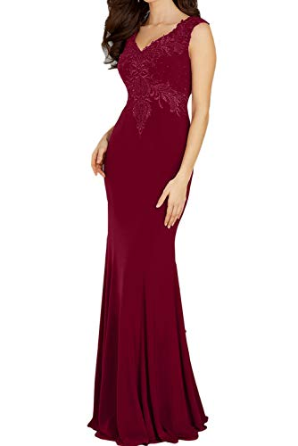 Topkleider Damen Glamour 2019 Rot Spitze Meerjungfrau Chiffon Abendkleider Lang Brautmutterkleider...
