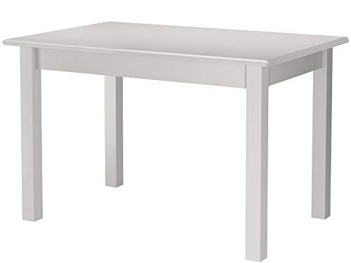 Loft24 A/S Esstisch Kiefer Massivholz Landhausstil Esszimmer Küche Tisch für 4 Personen rechteckig (weiß, 120 x 80 x 75 cm) - Kiefer Rechteckig Esstisch
