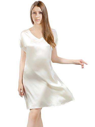 Seide Nachtkleid (ElleSilk Seide Nachthemd Damen, hochwertig 22 MM Natur-Seide Nachtkleid Negligee, Elfenbein, L)