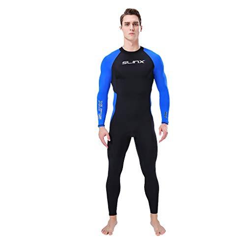 iYmitz Herren Wetsuit 3MM Neoprenanzüge Super Stretch Tauchanzug Schwimmen Surf Schnorcheln Surfanzug(Blau,XL)