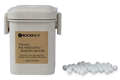 ROCKSHEAT Ceramic Baking Beans Pie Weights Natural Food Grade Crust & Pastry Utensils with Wheat Straw Container (2.2lb/1000g)