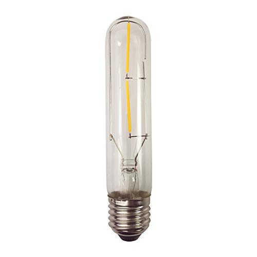 1X E27 Edison Glühbirne 2W LED Filament LED Birnen, T10 Leuchtmittel Warmweiß 2500-3200K, 200 Lumen Kerze mit 360° Abstrahlwinkel -