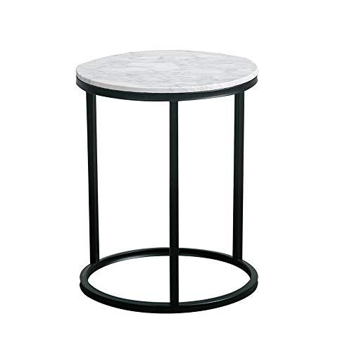 DS Mesa Mesa Redonda de Metal, Lado Redondo/Mesa de café/Extremo/lámpara, Metal, Tablero de mármol Blanco, 45 x 57 cm &&