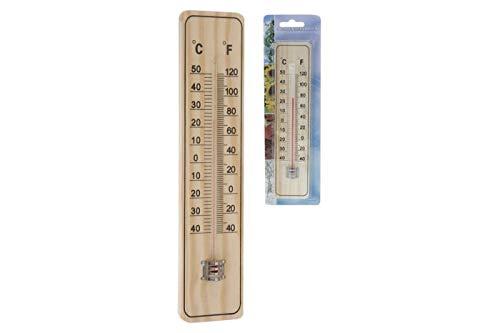 Thermometer Außenthermometer 22x5cm Holz Grad Fahrenheit Innen Außen