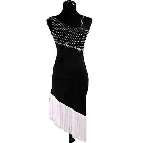Tanz Zeitgenössische Kostüm Für Wettbewerb - Lateinischer Tanz Wettbewerb Kleider Für Frauen Ärmellos Quaste Rock Latin Dance Outfit Leistung Strass, S