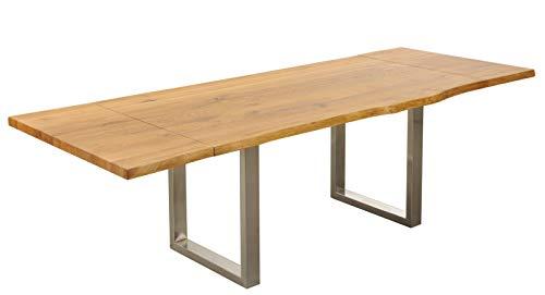 Main Möbel Esstisch ausziehbar Holz massiv Eiche 180(260) x100cm mit Baumkante Amber