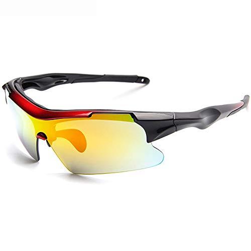 Radsportbrille Polarized Sports Sunglasses Sun Glasses mit 5 auswechselbaren UV400-Gläsern für Herren Damen Outdoor Radsport Baseball Runing Golf (Progressives Rot)