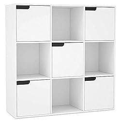 Homfa Bücherregal Raumteiler Raumtrenner Kinderregal Standregal Büroregal Holzregal Schrank Bücherschrank Regal 9 Fächern 5 Türen weiß