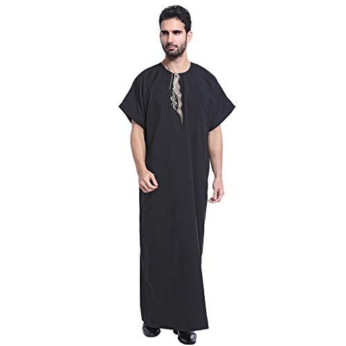 Islamisch Herren Sommer Kleidung Stickerei Thobe Maxikleid Saudi-arabische Kaftan Roben Kurzarm Lange Bluse Tops Muslim Dubai Indien Türkisch ()