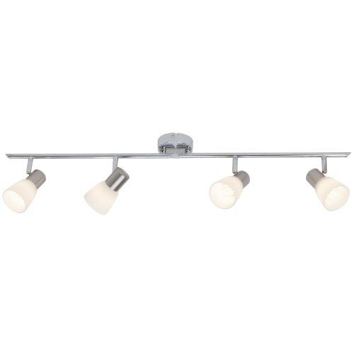 Brilliant Janna LED Spotrohr, 4-flammig, drehbar, 4x E14 3 W LED inklusive, Metall/Glas, eisen/chrom/weiß G46132/77 -