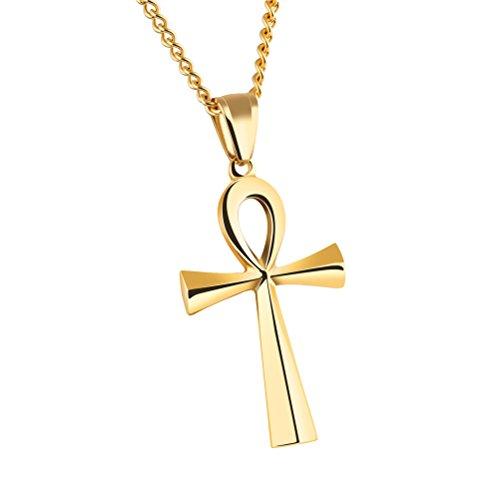 HIJONES Hombre Ujer Acero Inoxidable Simple Vintage Egipcio Ankh Cruz Colgante Collar De Oro