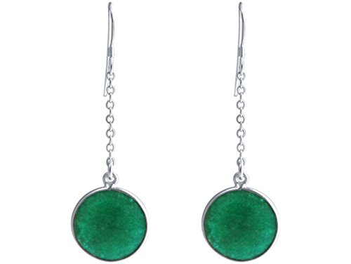 Gemshine - Pendientes - Plata de Ley - Esmeralda - Verde - YOGA - 4,5 cm