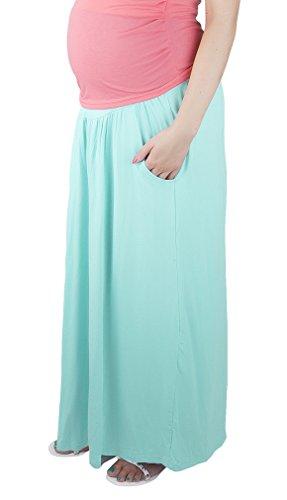 Mija - Confortable jupe de grossesse et de maternité Maxi longue 3048A Menthet