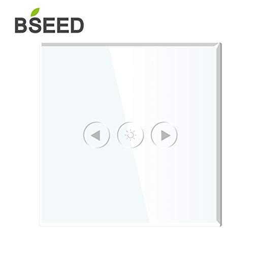 BSEED Smart WIFI Dimmer 300W Touch Control Wandlichtschalter Led Kompatibel (Neutral Feed Needed) Arbeiten Sie mit Alexa/Tuya/Google Home 1 Gang 1 Way White -
