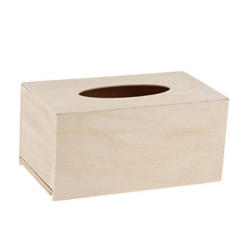 B Blesiya Unbehandelte Holz Taschentuchspender Taschentuchbox Kosmetik Tücherbox Tissue Spender zum bemalen basteln 19 x 10,5 cm - Handwerk Box Unfinished Holz