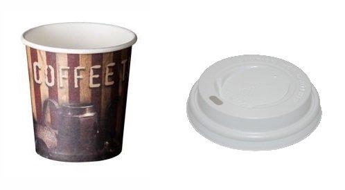 Pappbecher Kaffee, Tee, Aufgüsse + Deckel Glas Kuppel-Paket 100Stück 120 cc Glas Infusion Gläser
