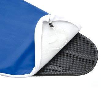 Mabi 495 − telo copriasse professionale − copriasse da stiro − cottone naturale − colore azzurro − mollettone cucita − misure superficie 120 x 45