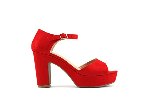 Modelisa - Sandalia Tacón Plataforma Mujer (41, Rojo)
