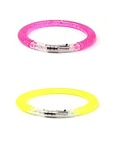 Ultra Multi Pack of 1 Pink 1 Yellow Coloured Flashing Wrist LED Bracelets Colourful Light up Bubble Bracelet Band Top Quality Perfect for Parties Events Birthdays Concerts and as Favours 6 Great Colours Glow in the Dark Safety Reusable Battery Operated Bracelets (1 Pink 1 Yellow)