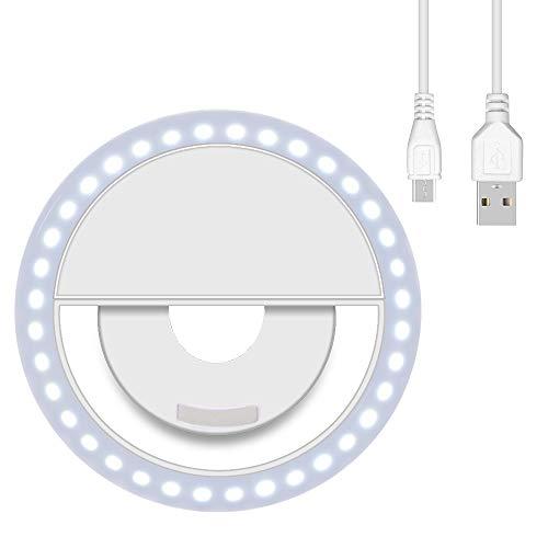 aovowog Selfie Ring Light Rechargeable Anneaux Lumineux de Selfie avec 36 LED Selfie Lumière Bague 3 Niveaux de Luminosité Réglable pour iPhone, Samsung, Tout Téléphone