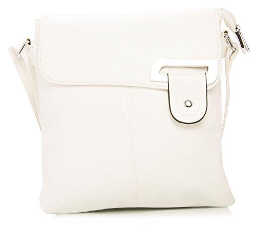 Big Handbag Shop Womens Medium Trendy Messenger Cross Body Shoulder Bag (White)