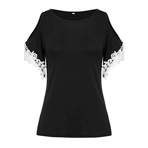 Zegeey Damen Oberteile T-Shirt Kurzarm Aus Festem Spitzen-Patchwork AushöHlen Bluse Top Sommer Shirt(X15-Schwarz,EU-44/CN-2XL)