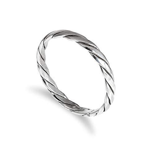 Sterling-Silber 2mm Stapelring   Muster: Verdreht   Größe: 48 (erhältliche Größen: 48-63)