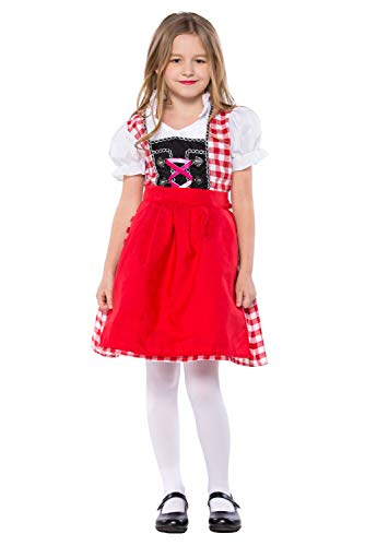 Kinder Mädchen Cosplay Kostüm Bierfest Kellnerin Uniform Trachtenkleid Dirndl 2tlg.Set kariert Mädchendirndl Rot
