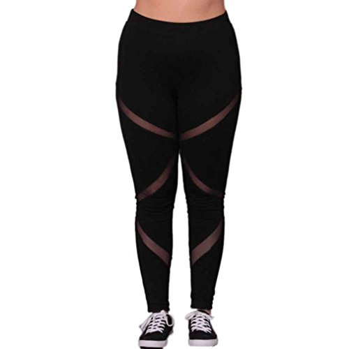 Yoga Leggings Hose , Yogogo Damen Hosen Plus Size Elastische Leggings Block Mesh Splicing Sport Hose (XXXL, Schwarz) (Plus-size-yoga)