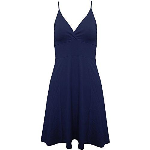Neuf Pour Femmes Cami À Bretelles Swing Court Mini-jupe Patineuse Robe Évasée Haut Grande Taille Navy - New Summer Spring Sexy Shoulder Straps