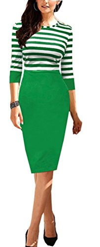 sunifsnow-women-black-green-and-white-striped-stretchy-casual-pencil-dresses-s