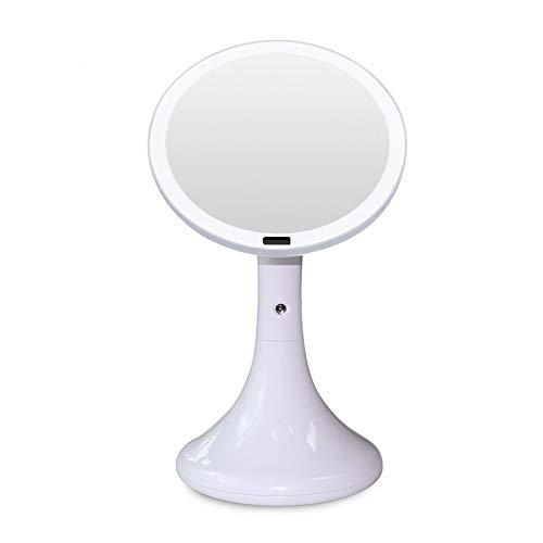 Induction LED lampe de table humidificateur miroir hydratant et hydratant lampe miroir cosmétique charge USB rotatif Nuit lumière cadeau fille,White