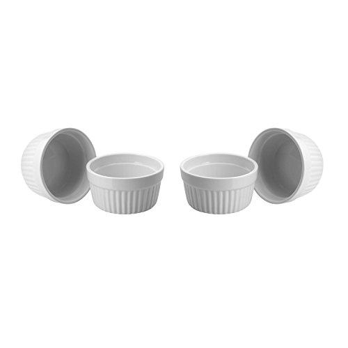 ToCi 4 weiße Creme Brulee Förmchen 9 cm | Schälchen für Ragout Fin | Pastetenform aus Keramik | auch für Schoko-Souffle