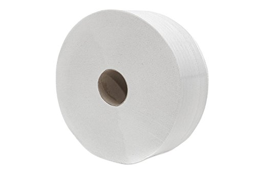 6 x Toilettenpapier Großrolle Jumbo 2 lagig, 250 m, Recycling weiß 70 %, perforiert, Ø 26 cm - Jumbo-rollen