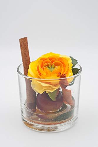 Kleines herbstliches Tischgesteck in orange+rot-Tischgesteck mit künstlichen Blumen