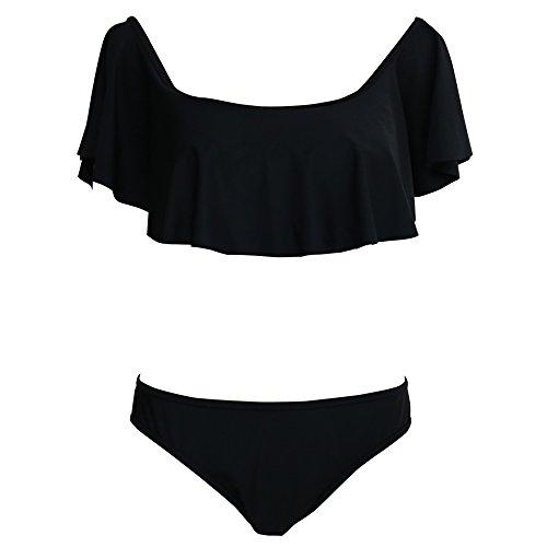 YaoDgFa Strand Damen Bikini Set Bademode Badeanzüge Bikinis für Frauen Mädchen Bandeau Push Up mit Bügel Rüschen Schwarz