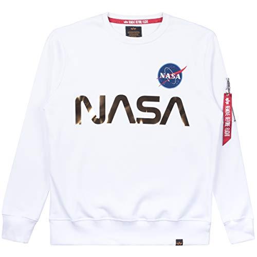 ALPHA INDUSTRIES Men Sweatshirt NASA Reflective, Taglia:XL, Colore:White/Gold