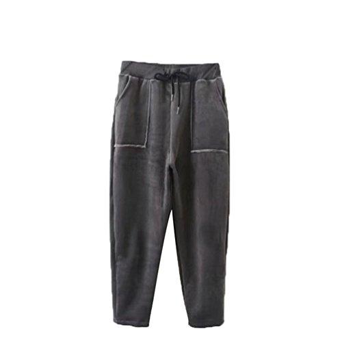 NiSeng Donna Elastico Vita Velluto Coste Pantaloni Con Tasche Plus Cashmere Addensare Casual Pantaloni Grigio scuro