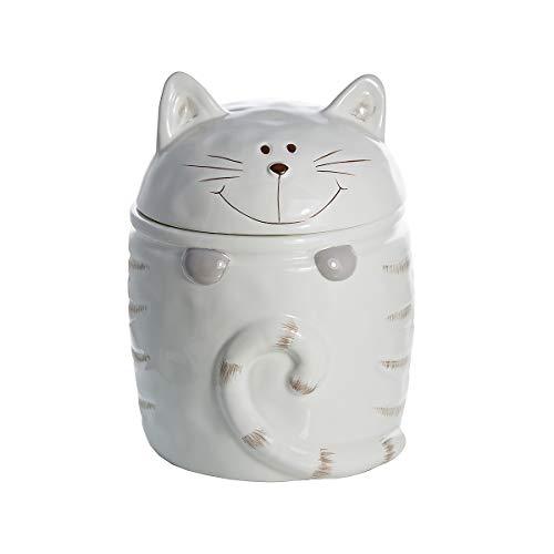 Katze Keksdose Vorratsdose Keramik Cookie Jar Zwecke Katzenleckerli Aufbewahrungsbox Weiß, Geschenk für Katzenliebhaber Cat Lover Gift
