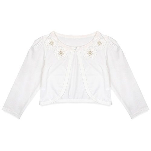 iiniim Girls Long Sleeves Flower Lace Bolero Cardigan Shrug for Wedding Bridesmaid Party Clothing