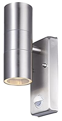 LightHub Up & Down Stainless Steel Outdoor Dimmable Wall Light with Motion Sensor PIR IP44 (LED Ready) - low-cost UK light store.